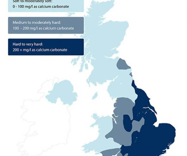 How hard is your water? Water hardness in the UK map.